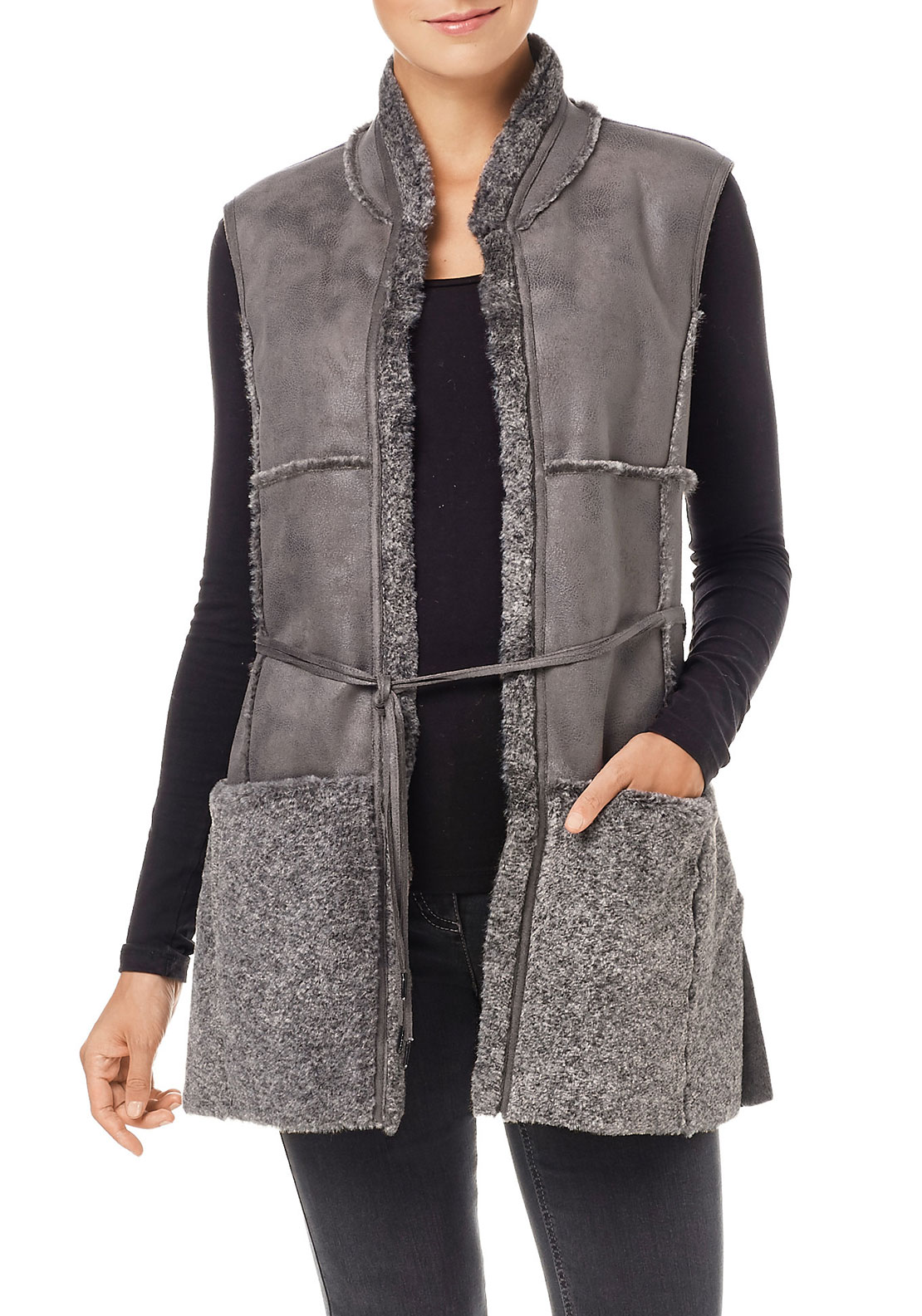 Gerry Weber Faux Fur Trim Gilet, Grey