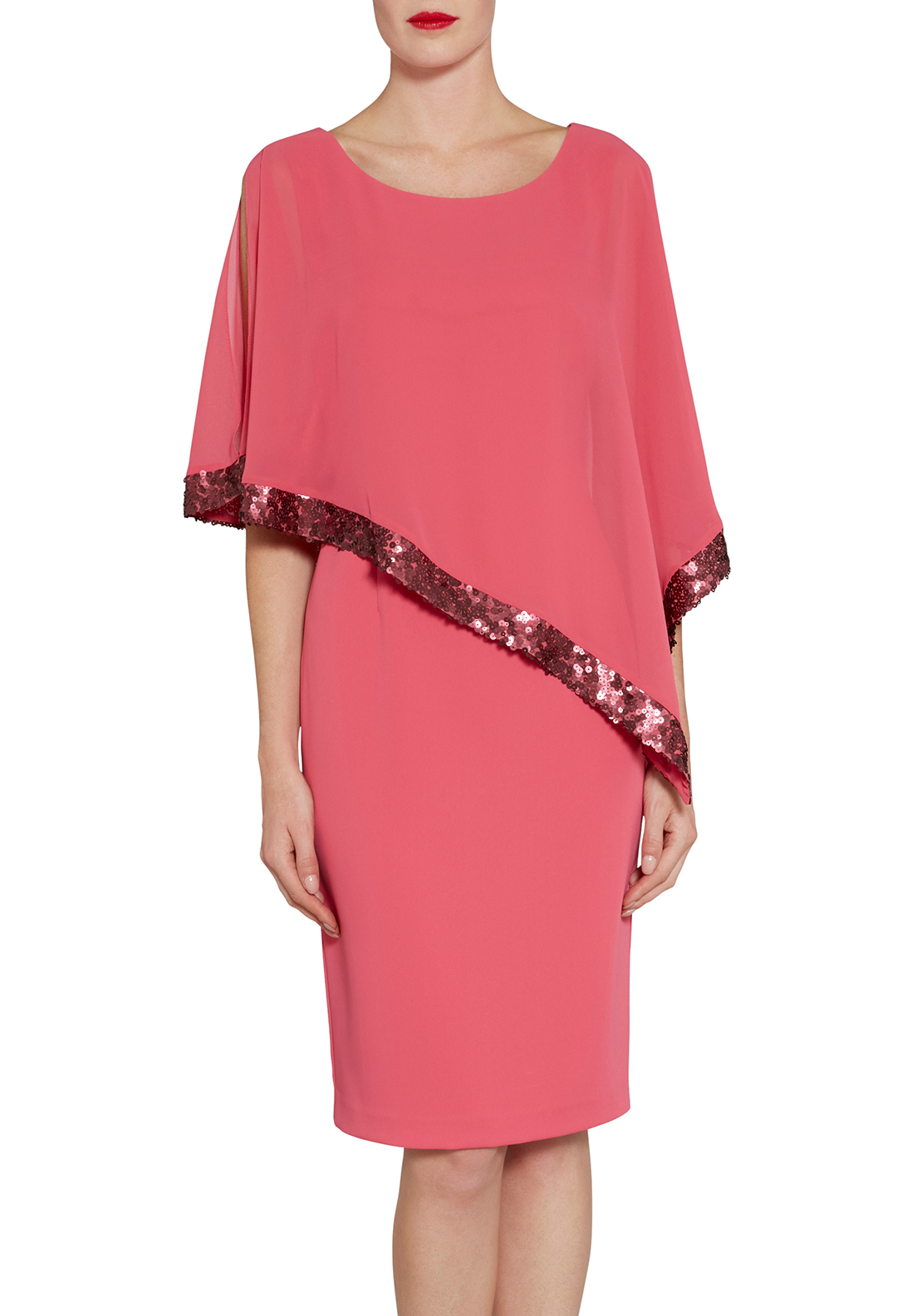 Gina Bacconi Sequin Trim Cape Overlay Dress, Coral