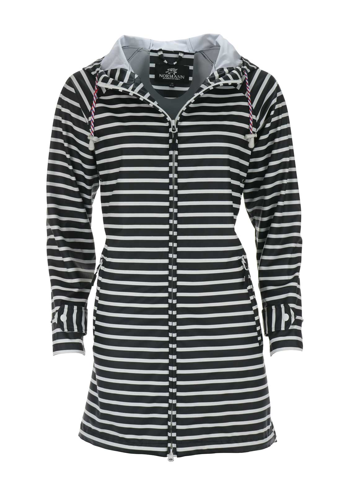 Normann Striped Waterproof Raincoat, Black and White