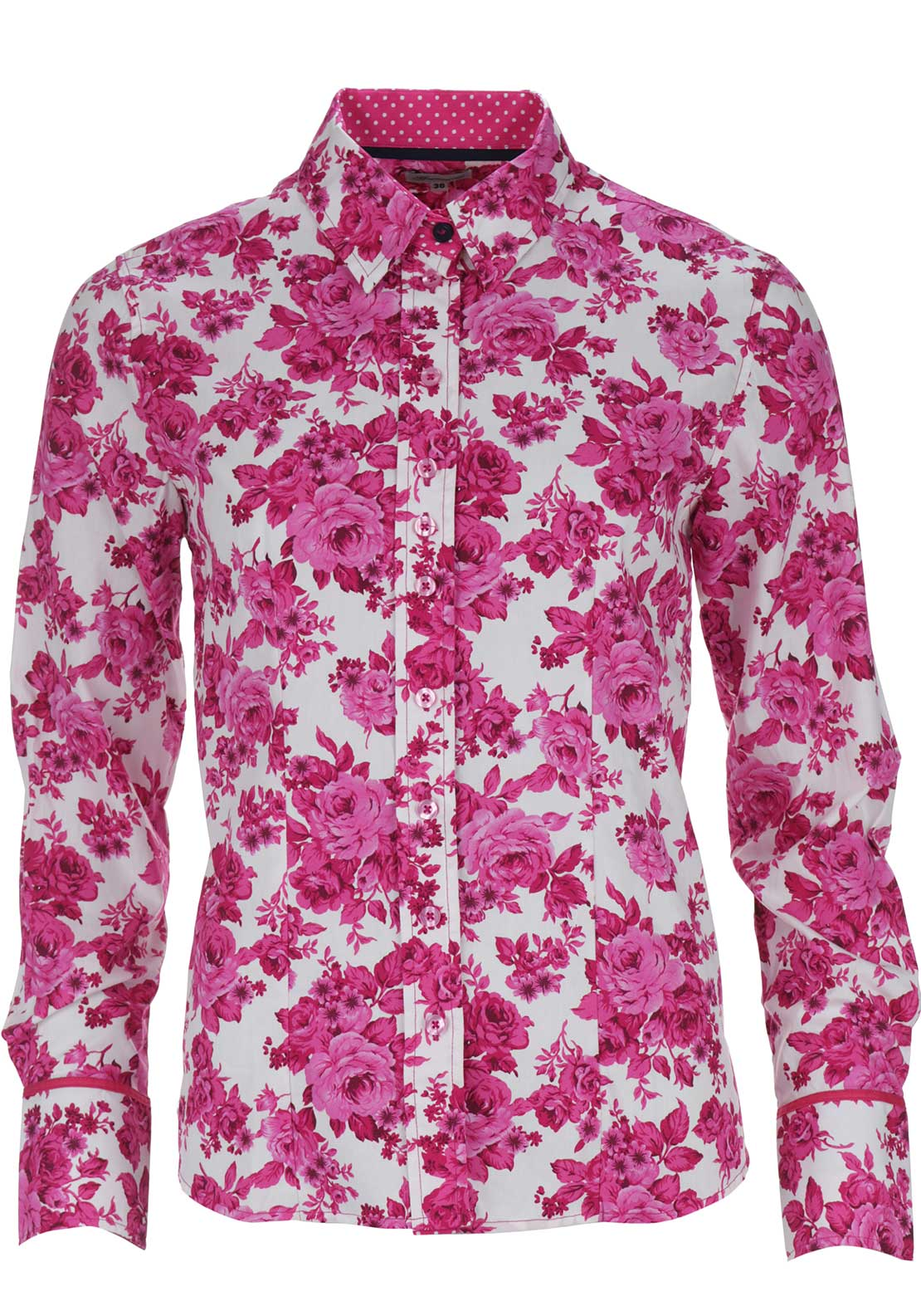 Grenouille Rose Print Long Sleeve Blouse, Pink