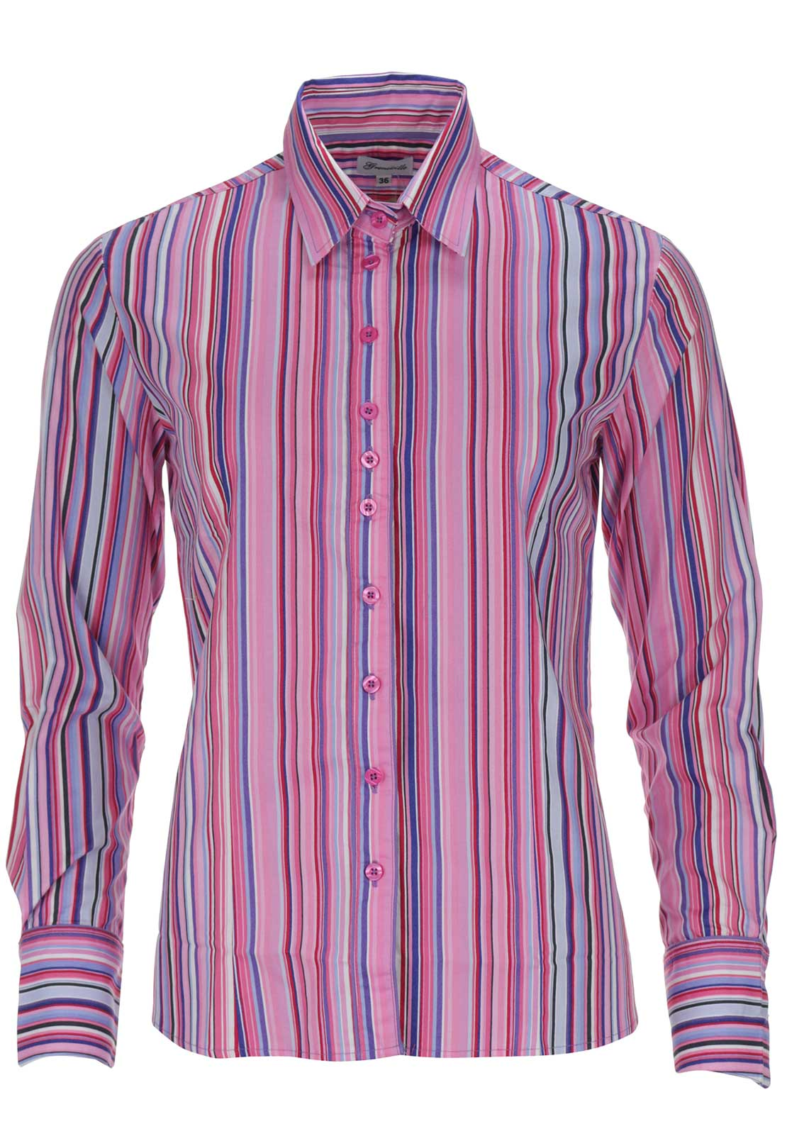 Grenouille Striped Long Sleeve Blouse, Pink Multi