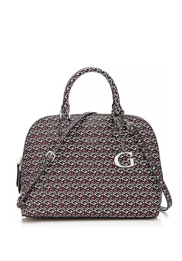 Guess G Cube Dome Satchel Bag, Red & Grey