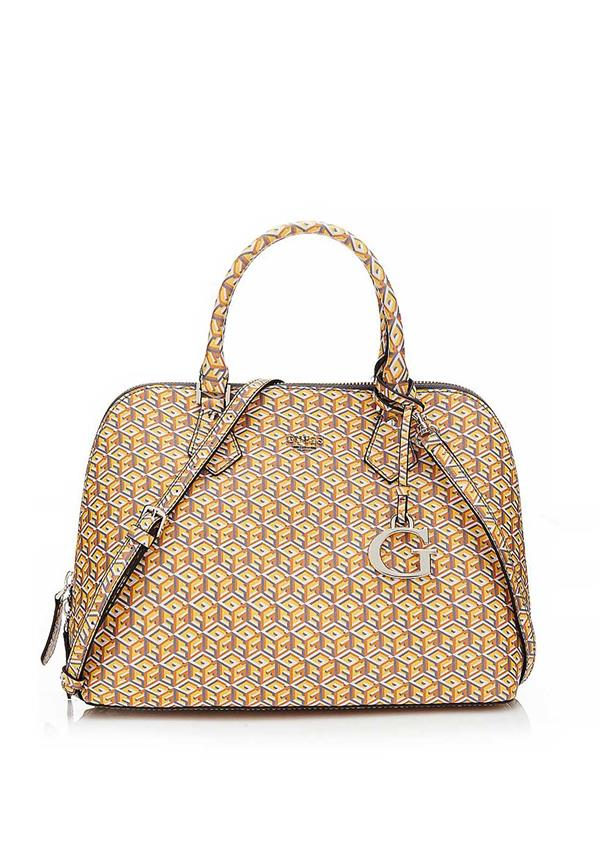 Guess G Cube Dome Satchel Bag, Yellow Multi