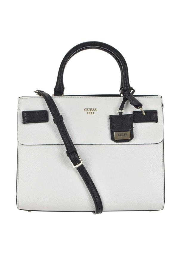 Guess Cate Satchel Bag, White & Black