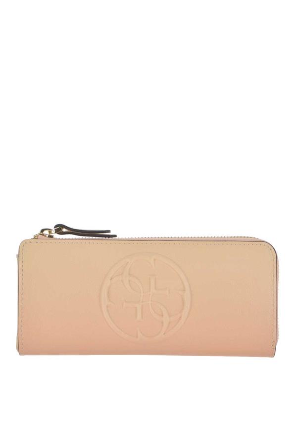 Guess Amy Zip up Two Toned Wallet, Cream and Pink