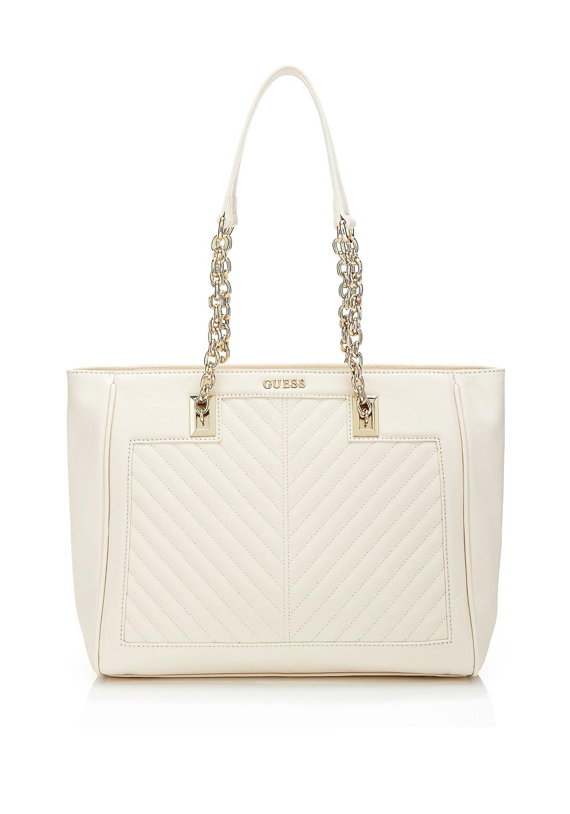 Guess Addison Quilted Shoulder Tote Bag, Ivory