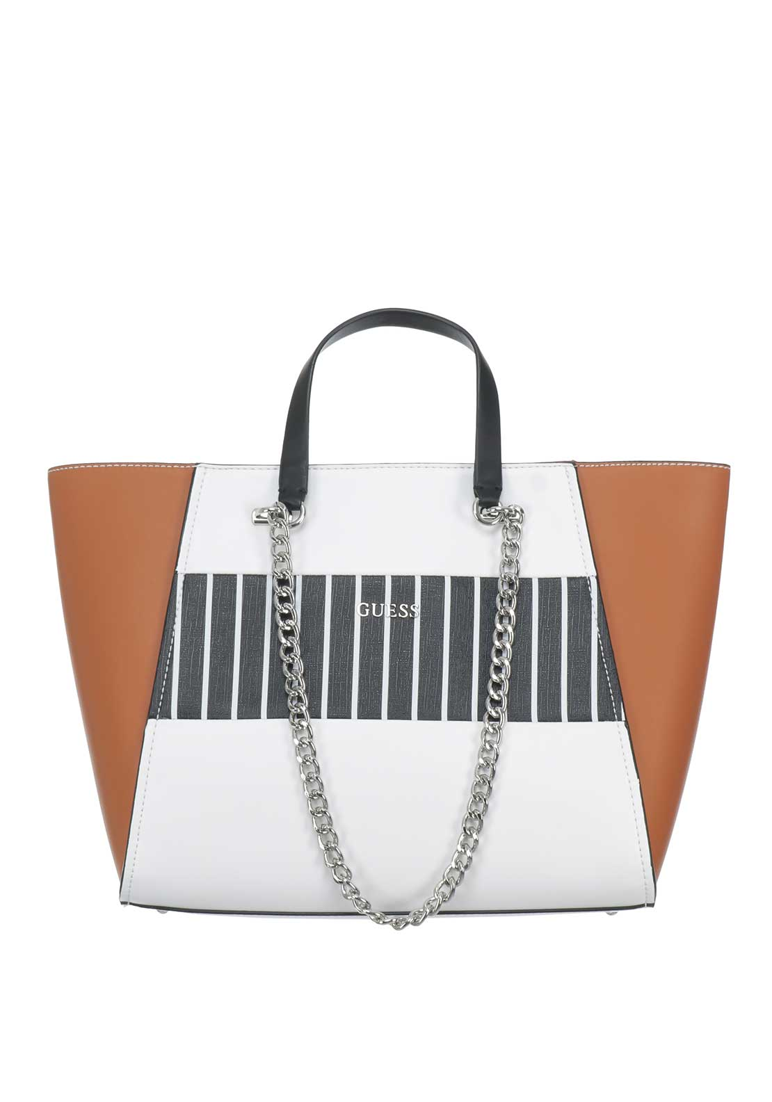 Guess NIkki Chain Tote Bag, Brown & White