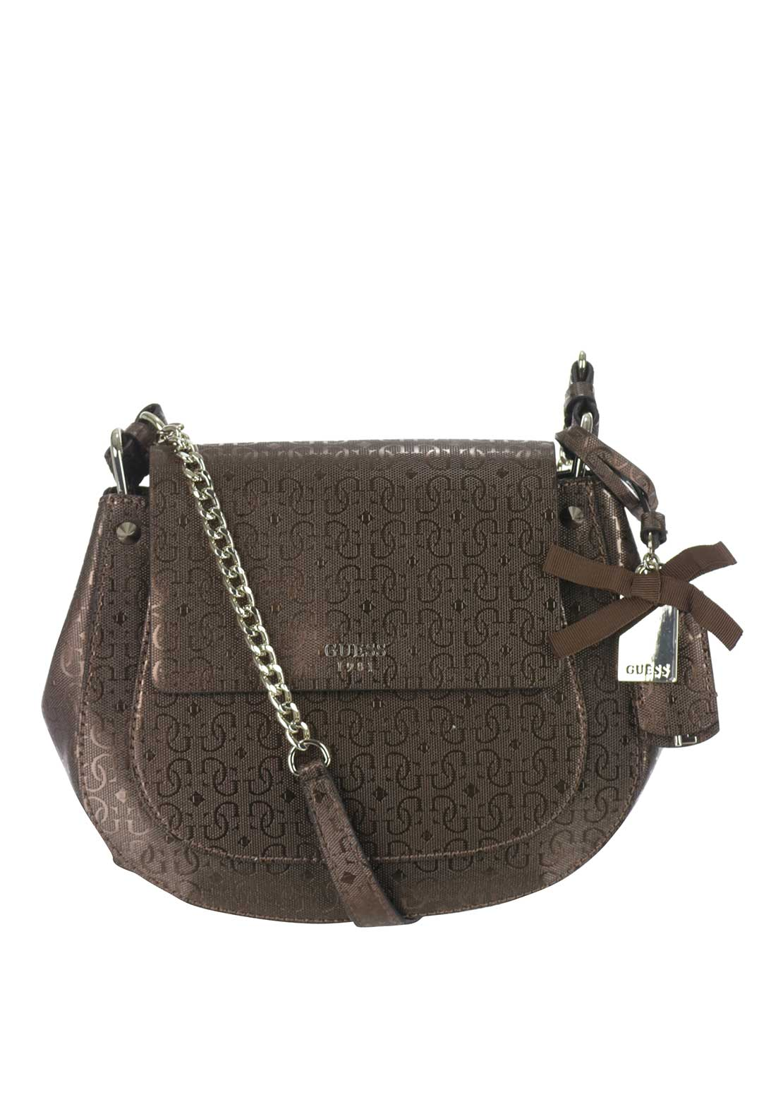 Guess Marian Glassy-Effect Crossbody Bag, Bronze