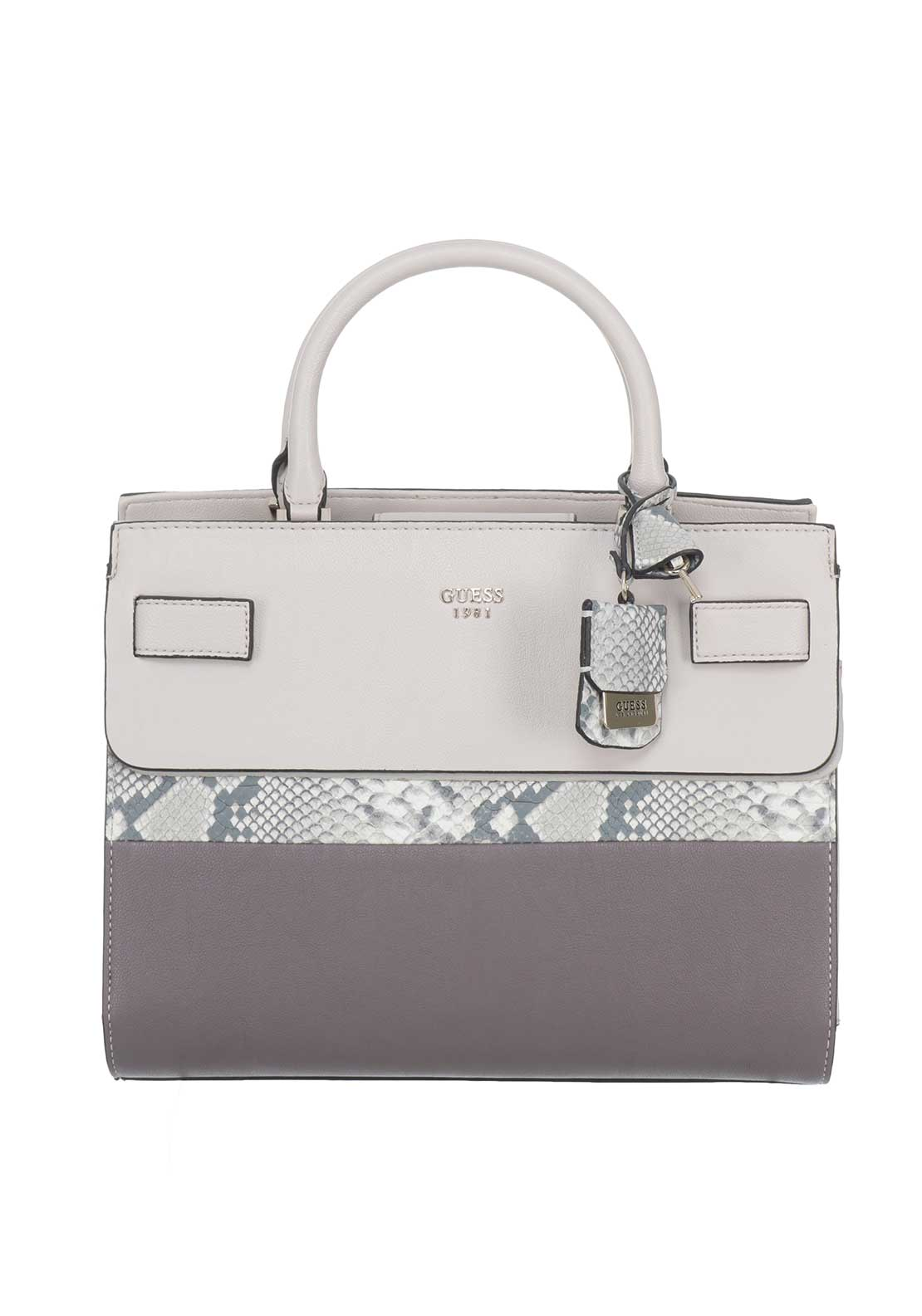 Guess Cate Satchel Bag, Taupe Multi