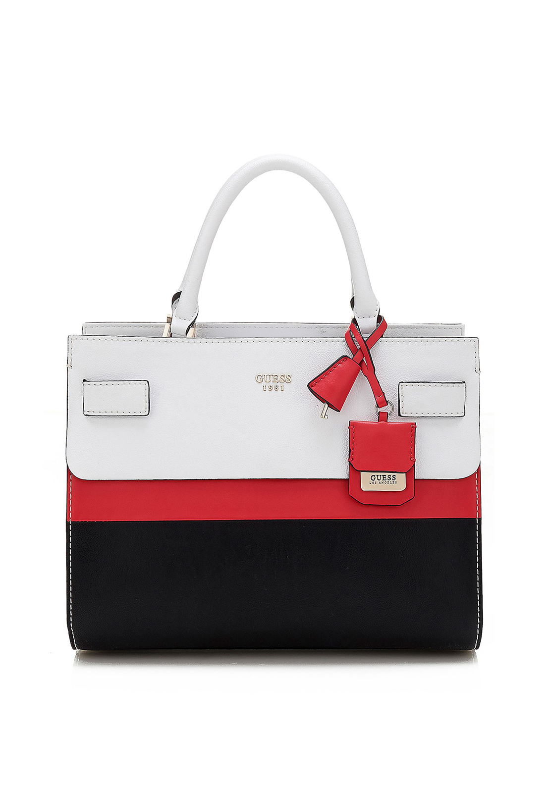 Guess Cate Satchel Bag, White, Red & Black