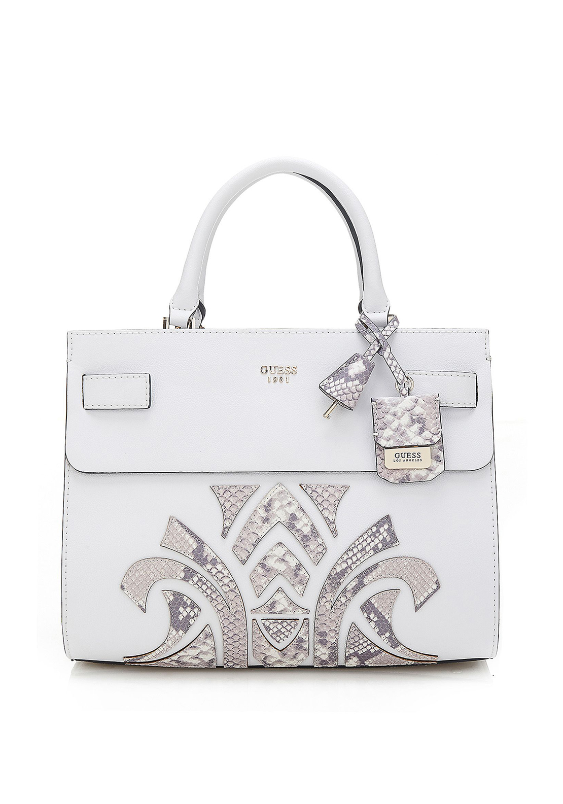 Guess Cate Bag, White & Python Print