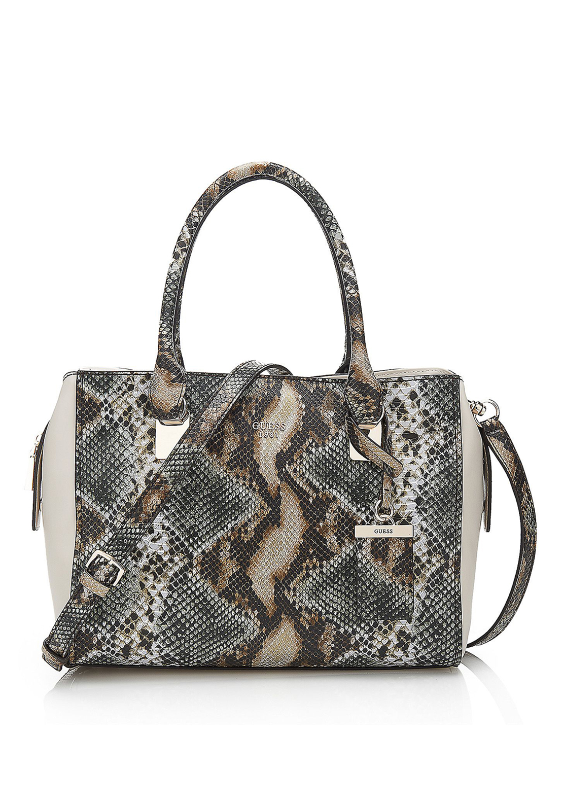 Guess Camylle Reptile Shoulder Bag, Olive Multi