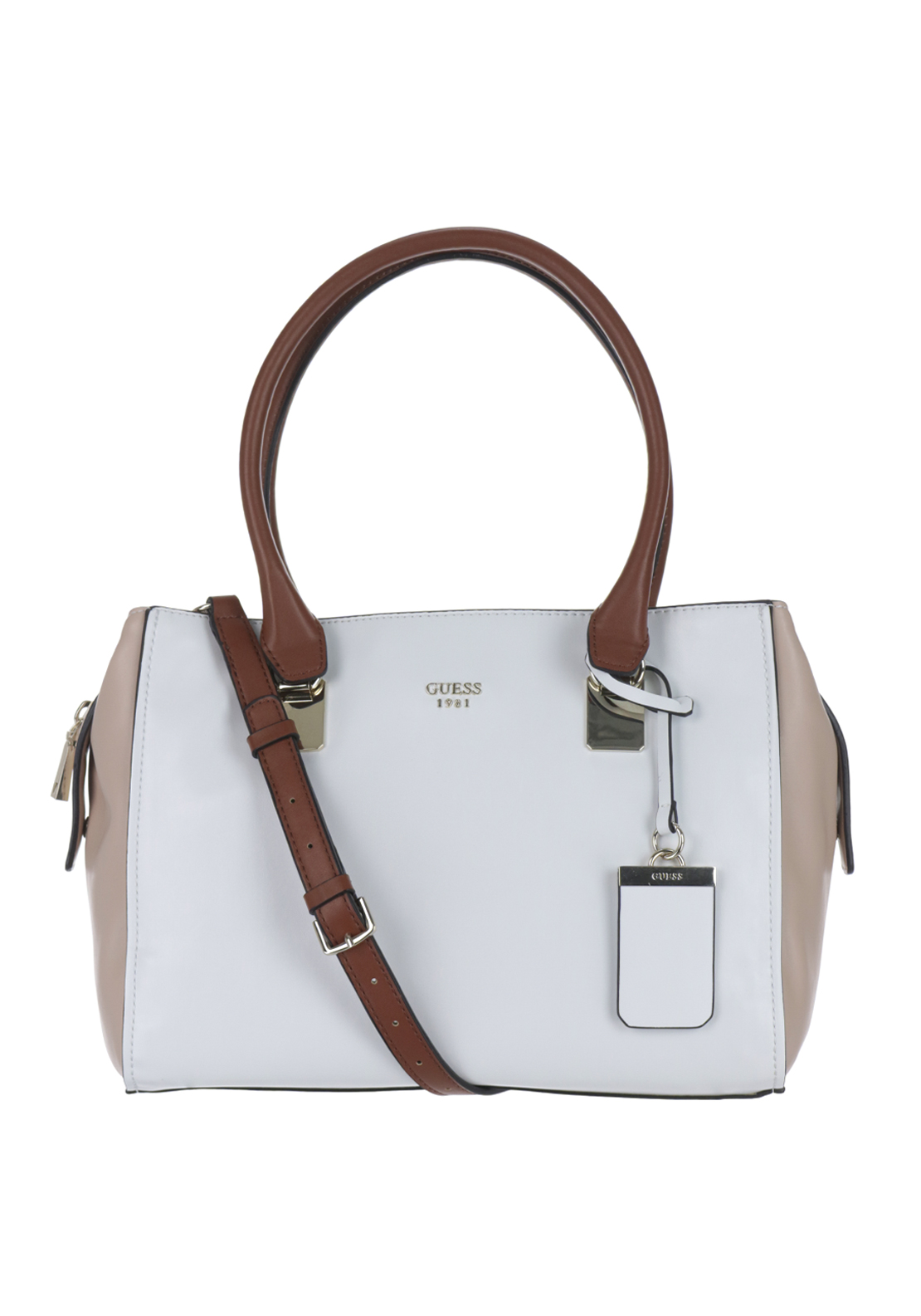 Guess Camylle Reptile Shoulder Bag, White Multi