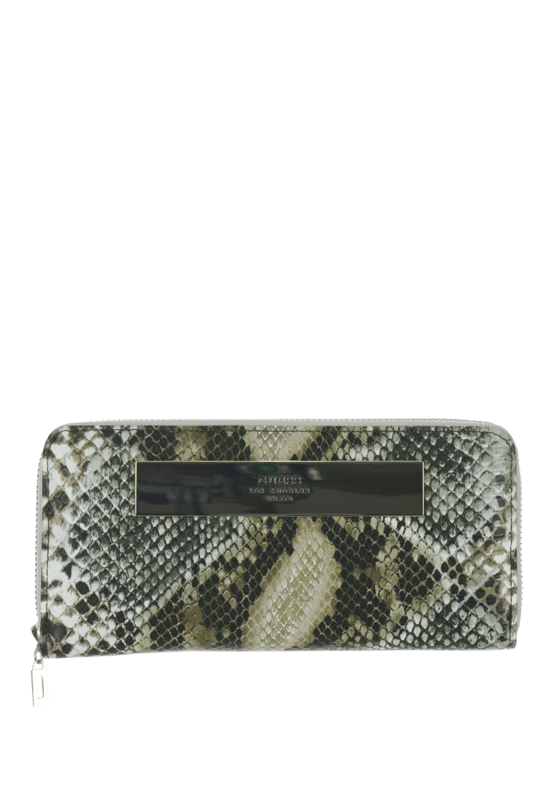 Guess Camylle Reptile Print Large Zip around Wristlet Purse, Multi-Coloured