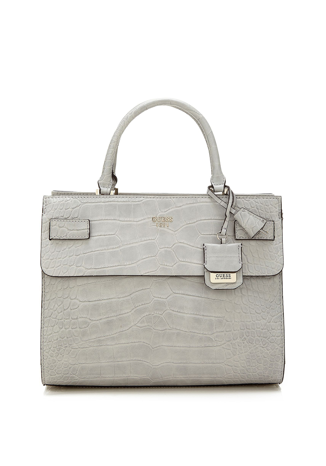 Guess Cate Reptile Tote Bag, Grey Cloud
