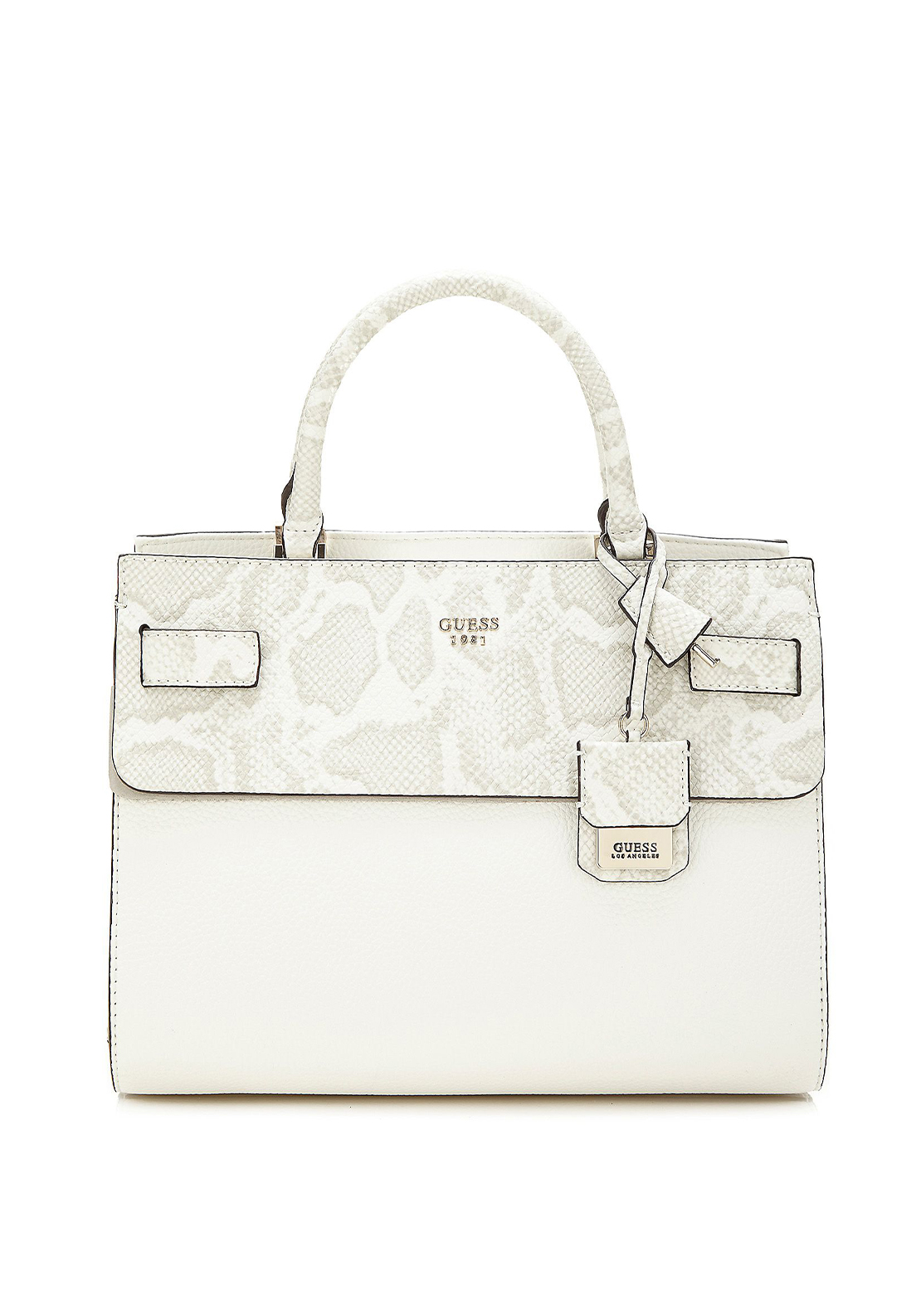 Guess Cate Reptile Panel Tote Bag, White Bone Multi