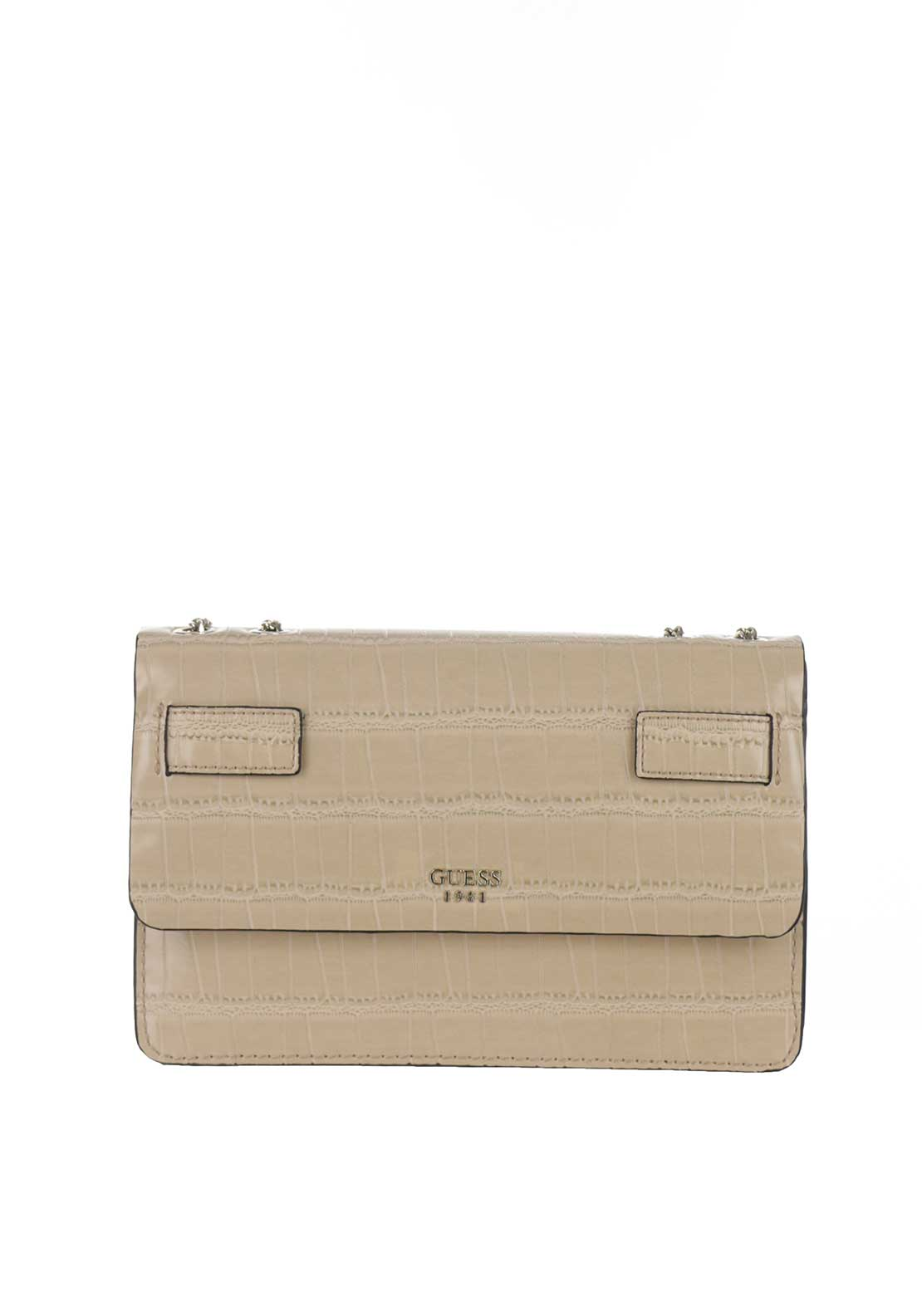 Guess Cate Croc Print Crossbody Bag, Nut Beige