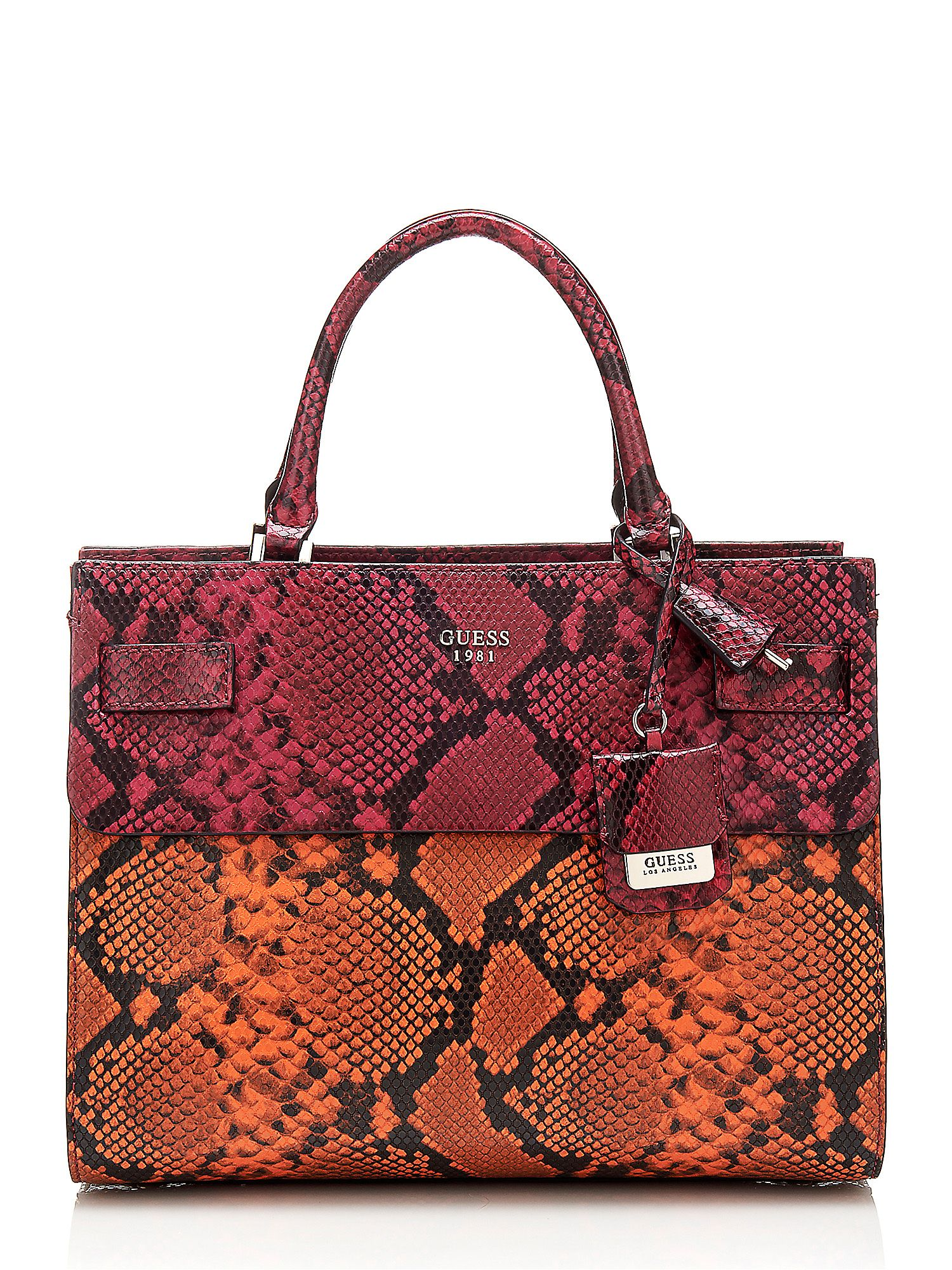 Guess Cate Pyton Print Tote Bag, Lava