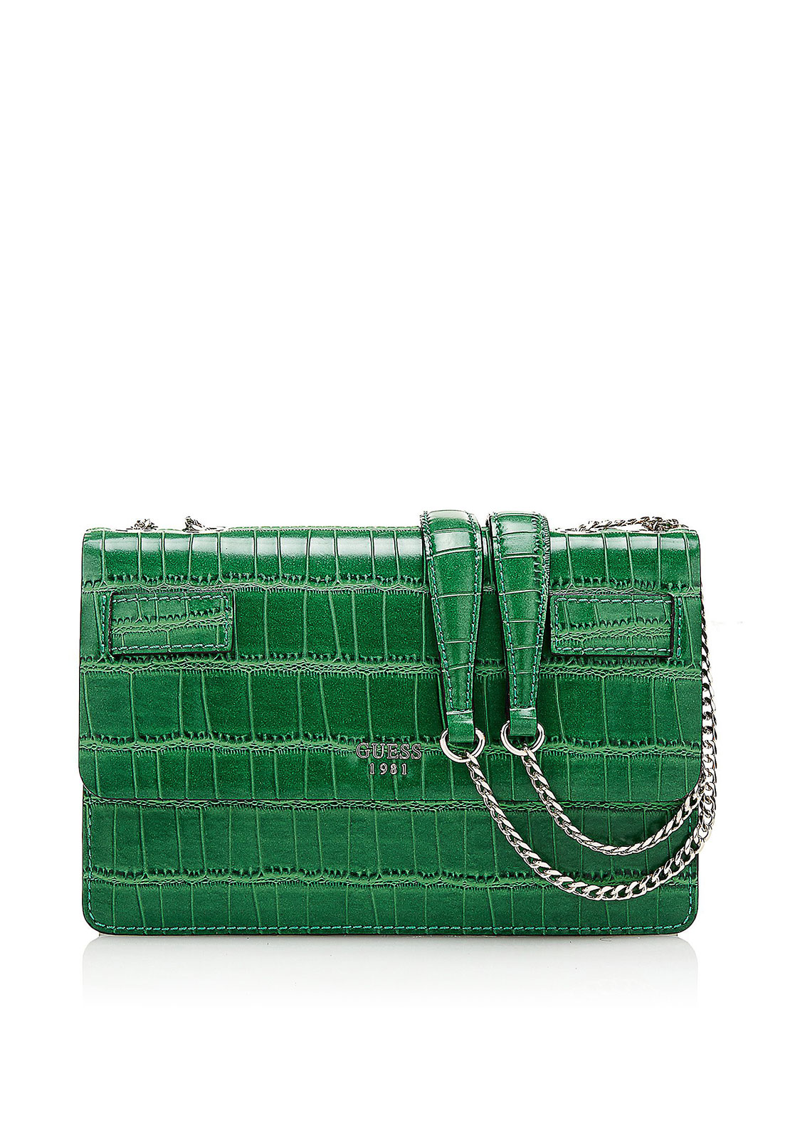 Guess Cate Croc Print Crossbody Bag, Emerald