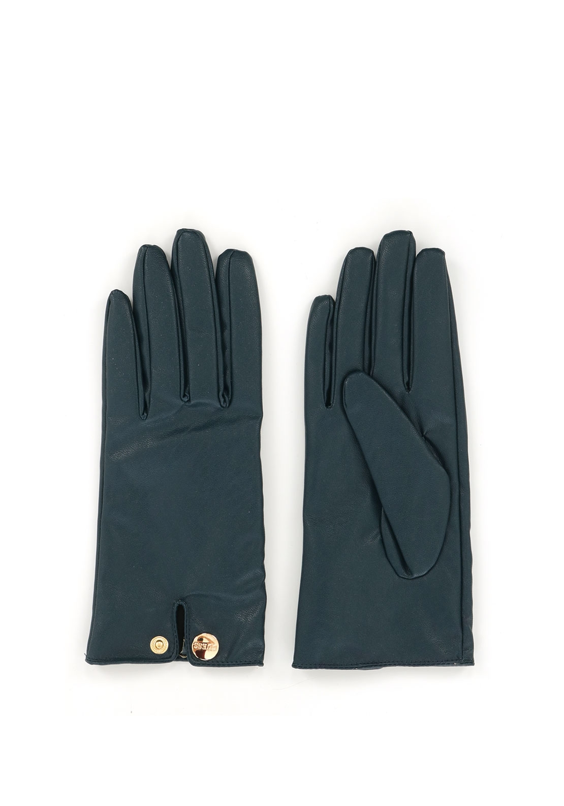 Guess Faux Leather Gloves, Navy