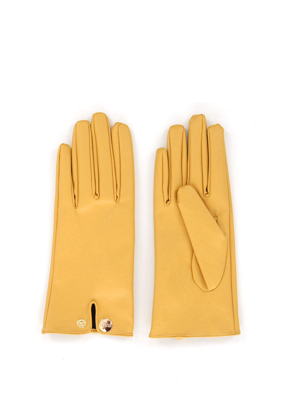 Guess Faux Leather Gloves, Yellow