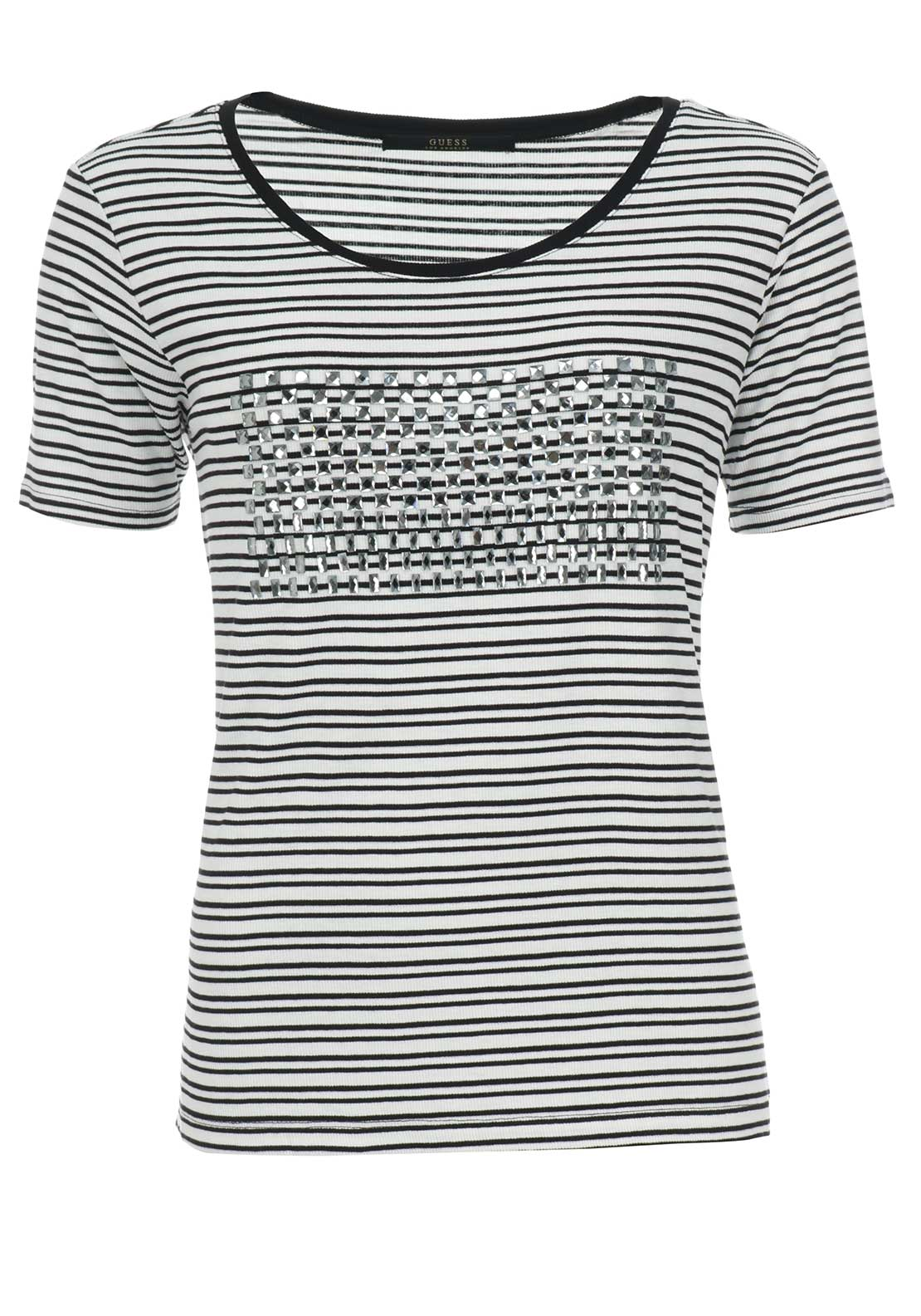 Guess Womens Amelia Diamante Striped Top, Black