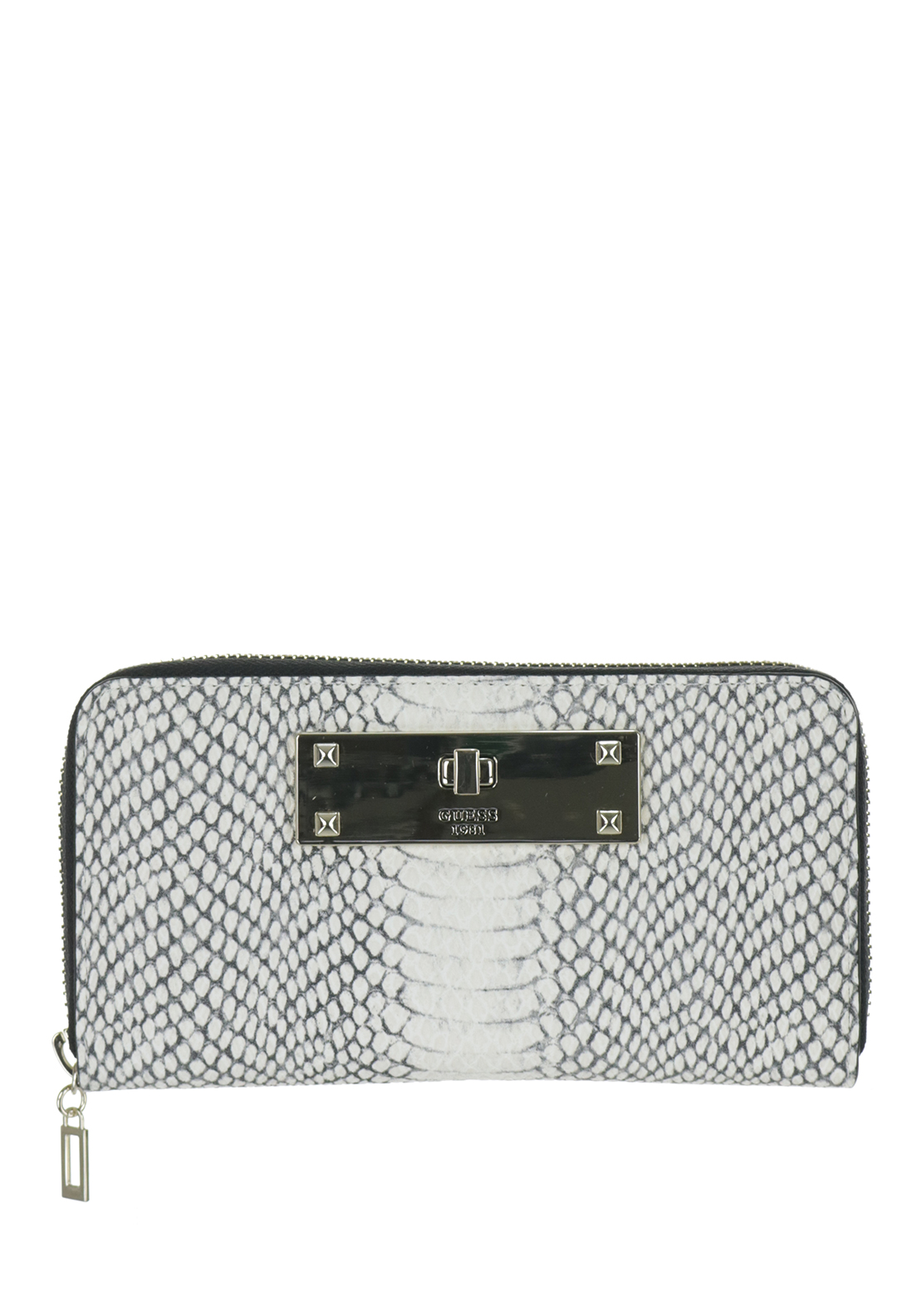 Guess Kyra Python Zip Around Medium Wristlet Purse, White
