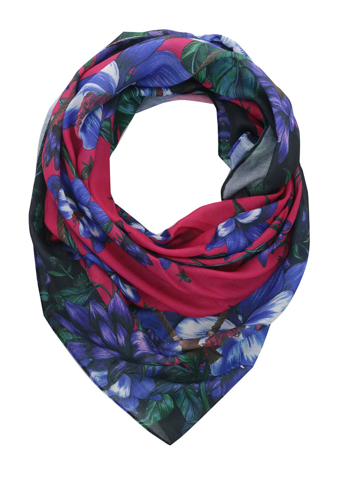 Guess Womens Floral Print Scarf, Multi-Coloured