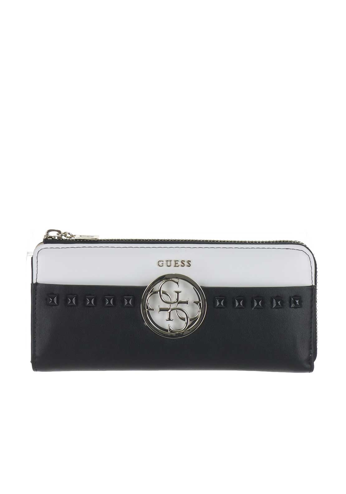 Guess Devyn Slim Zip Stud Wallet, Black & White