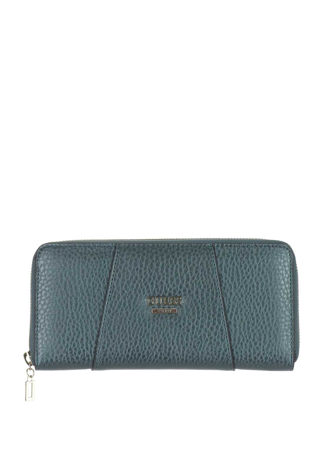 Guess Gia Zip Around Wristlet Purse, Metallic Green