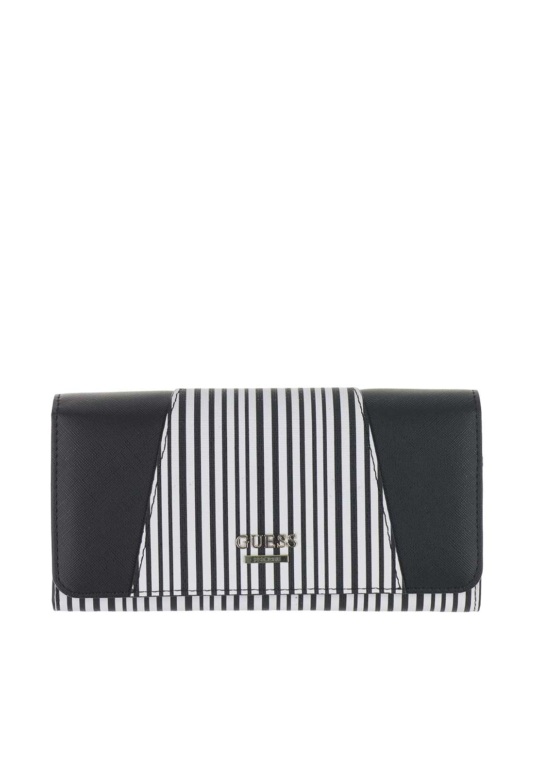 Guess Gia Striped Zip Around Wallet, Black & White