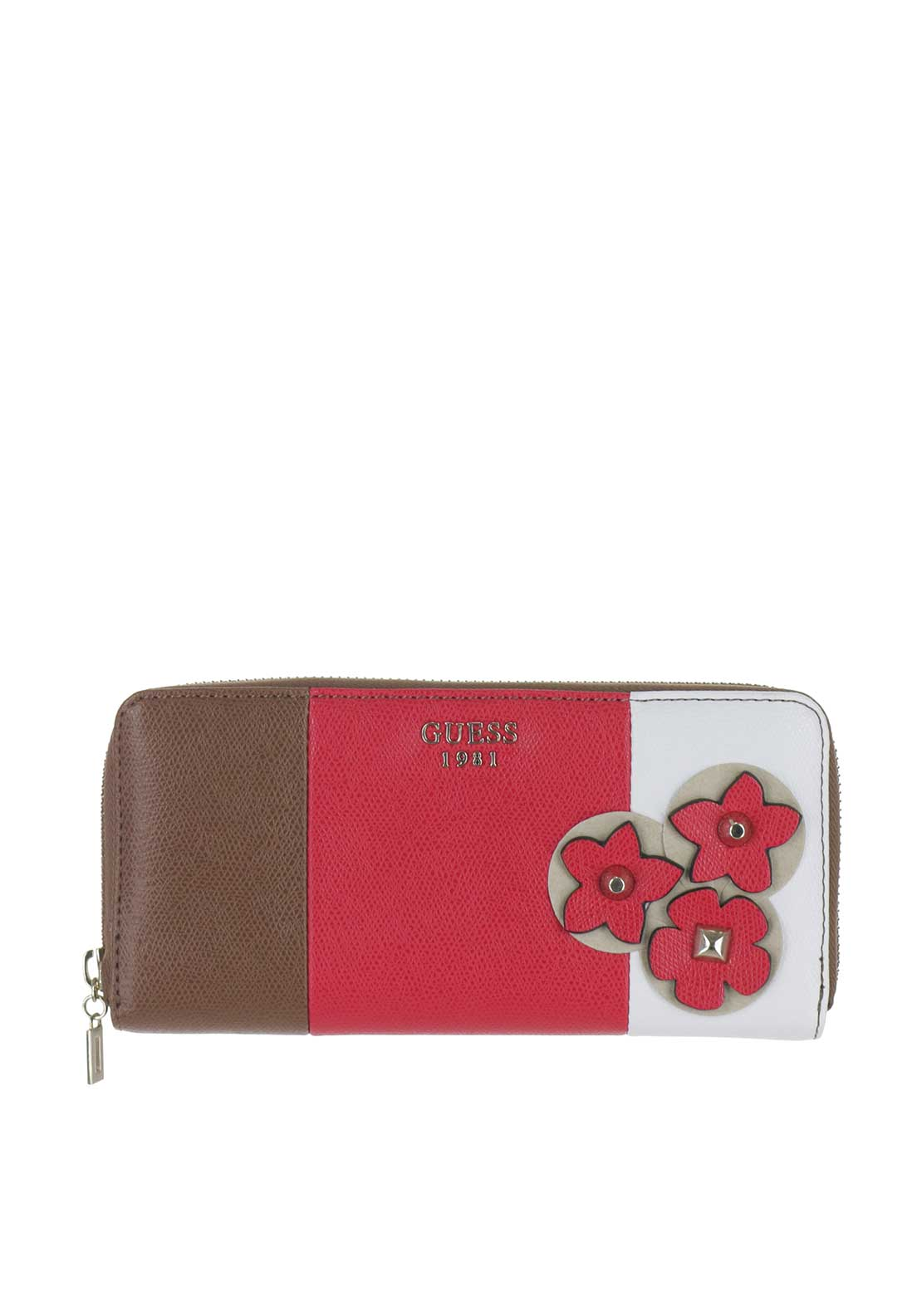 Guess Liya Flower Wristlet Purse Mocha Multi