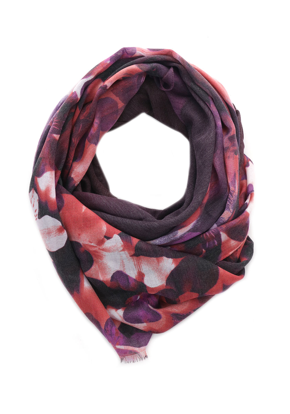 Guess Sauvage & Beauty Floral Scarf, Ruby Purple