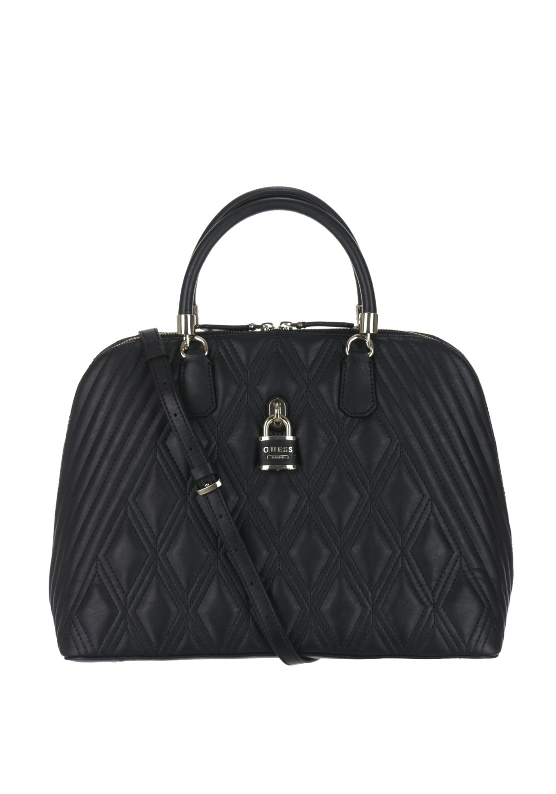 Guess Shea Quilted Locket Dome Grab Bag, Black