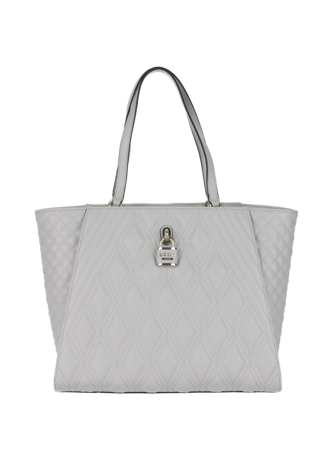 Guess Shea Quilted Locket Shopper Tote Bag, Bone Cream