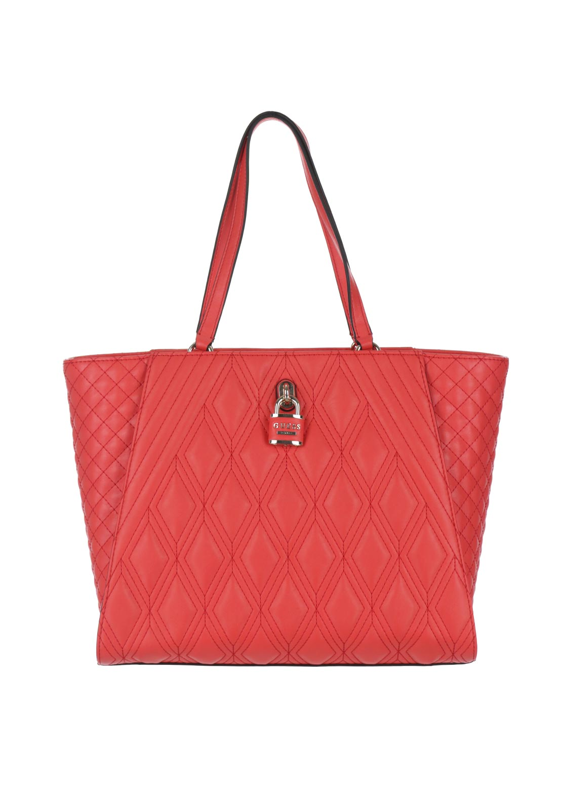 Guess Shea Quilted Locket Shopper Tote Bag, Tomato Red
