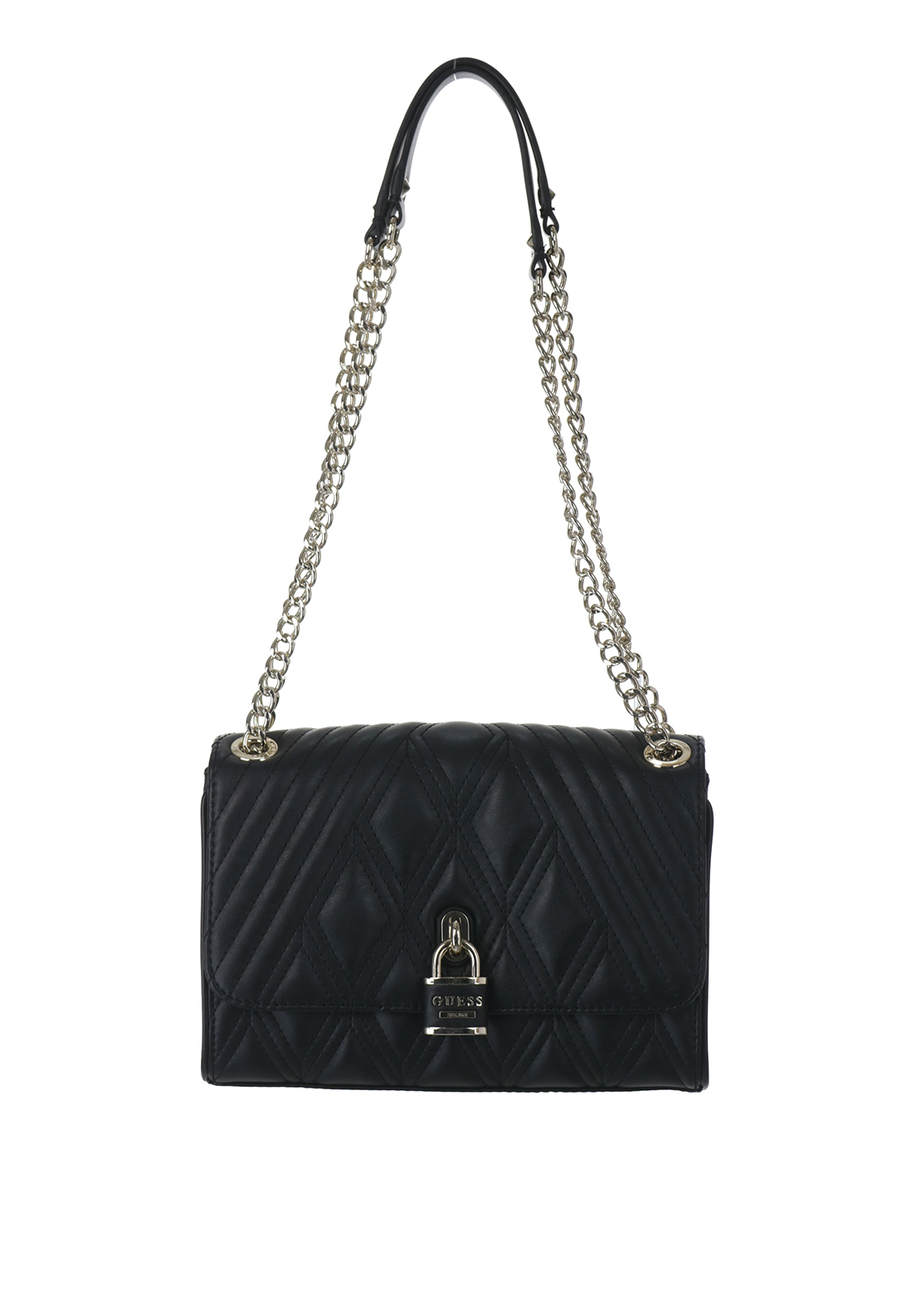 Guess Shea Quilted Locket Shoulder Bag, Black