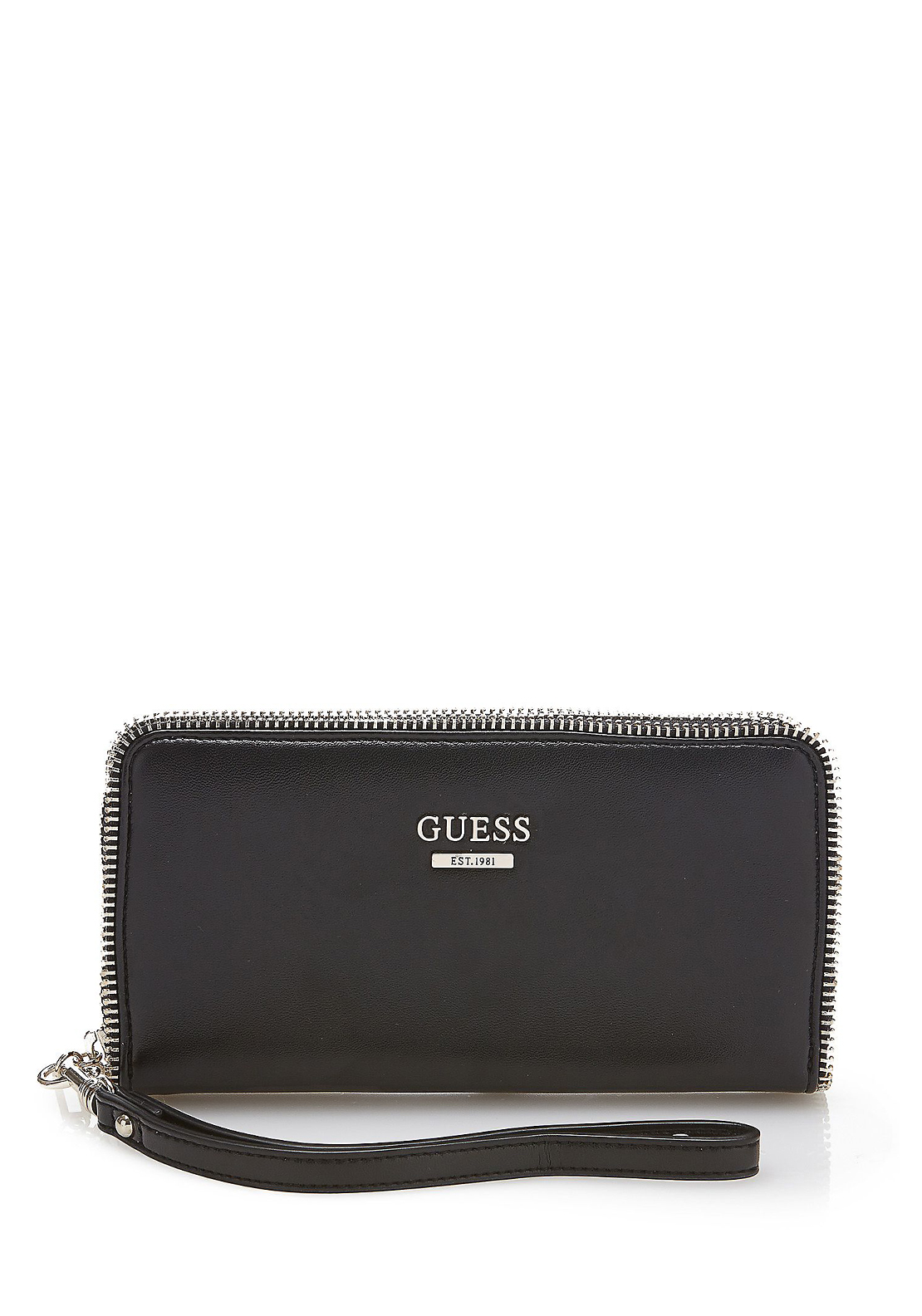 Guess Sofie Zip Detail Wristlet Strap Medium Purse, Black