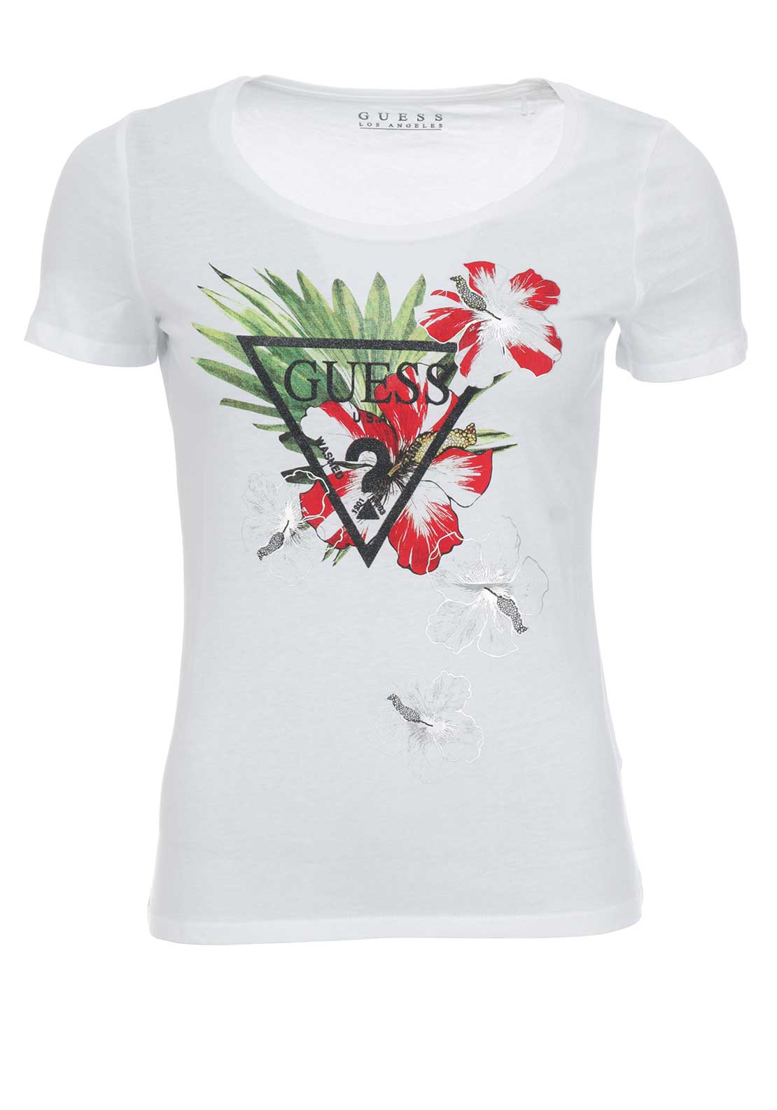 Guess Womens Logo Floral Top, White