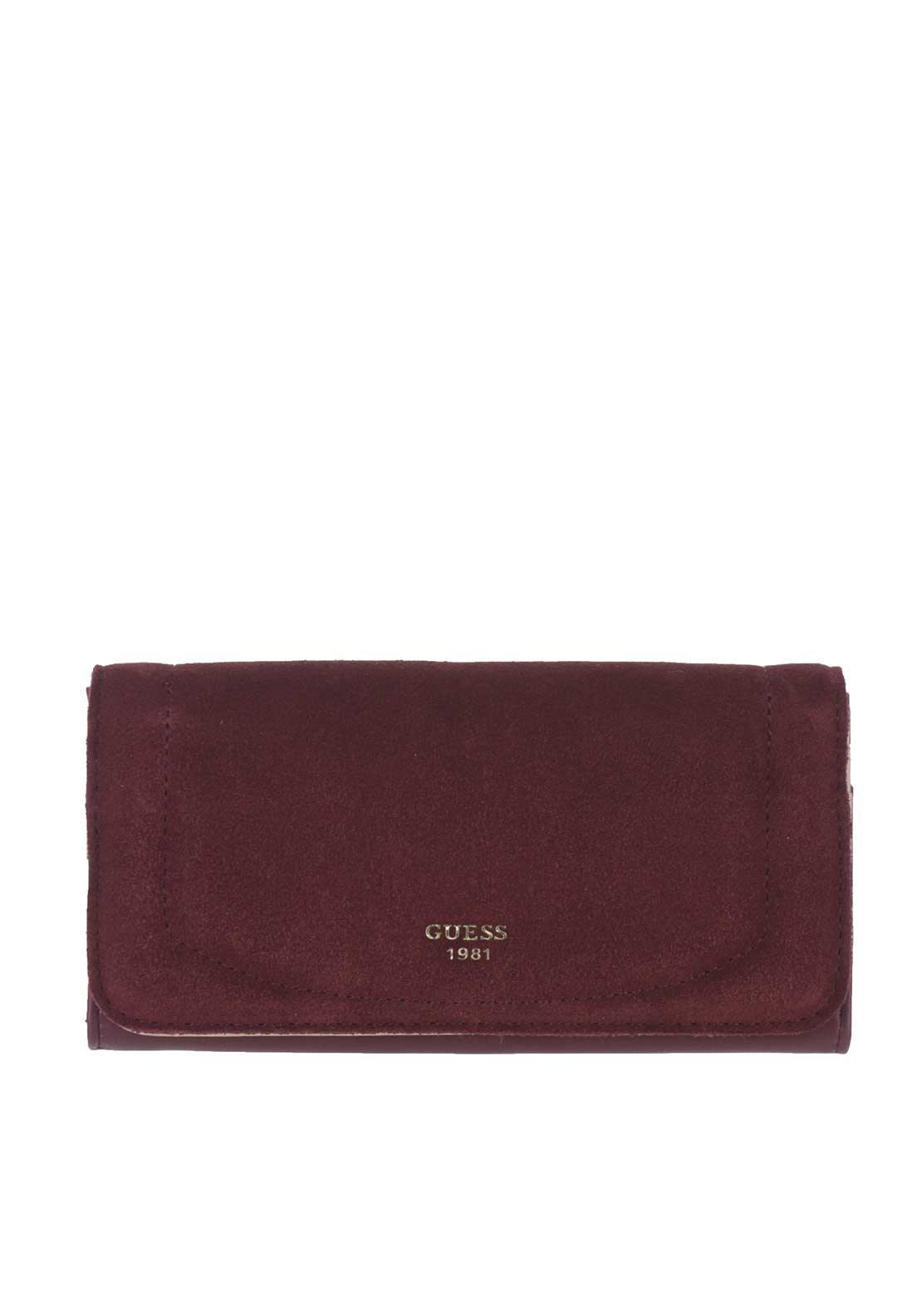 Guess Kingsley SLG Suede Insert Rollover Case Purse, Bordeaux