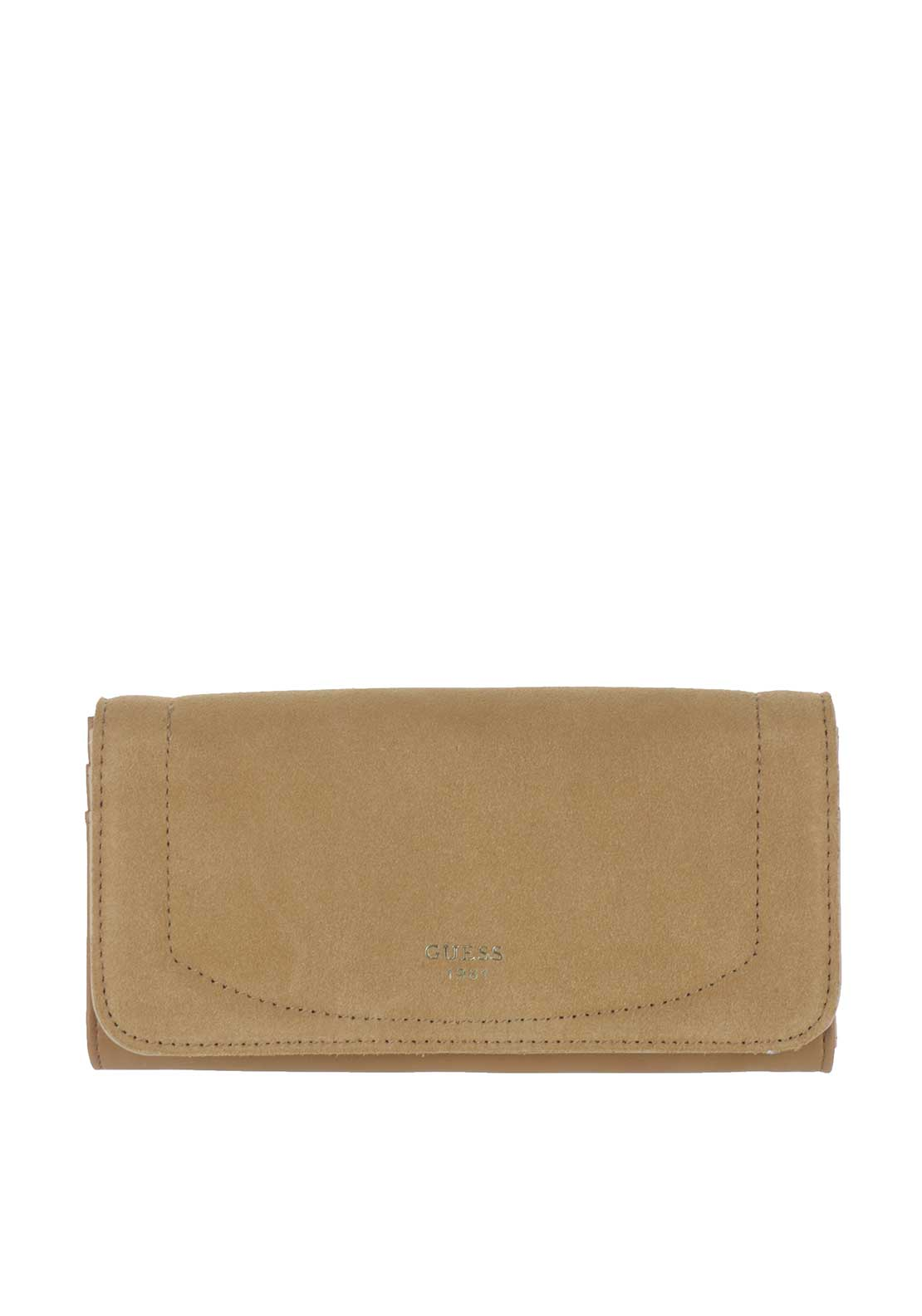 Guess Kingsley SLG Suede Insert Rollover Case Purse, Cognac