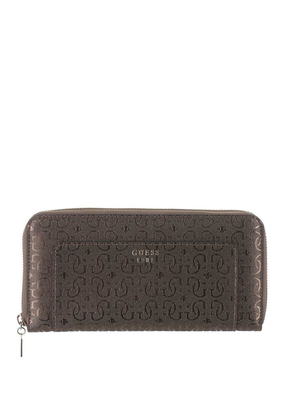 Guess Marian SLG Zip Around Purse, Bronze