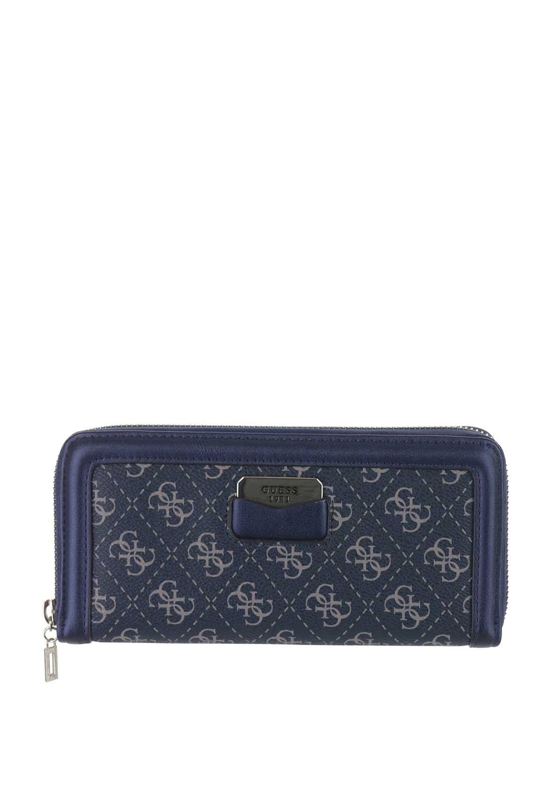 Guess Taree SLG Python Print Zip Around Purse, Sapphire Blue