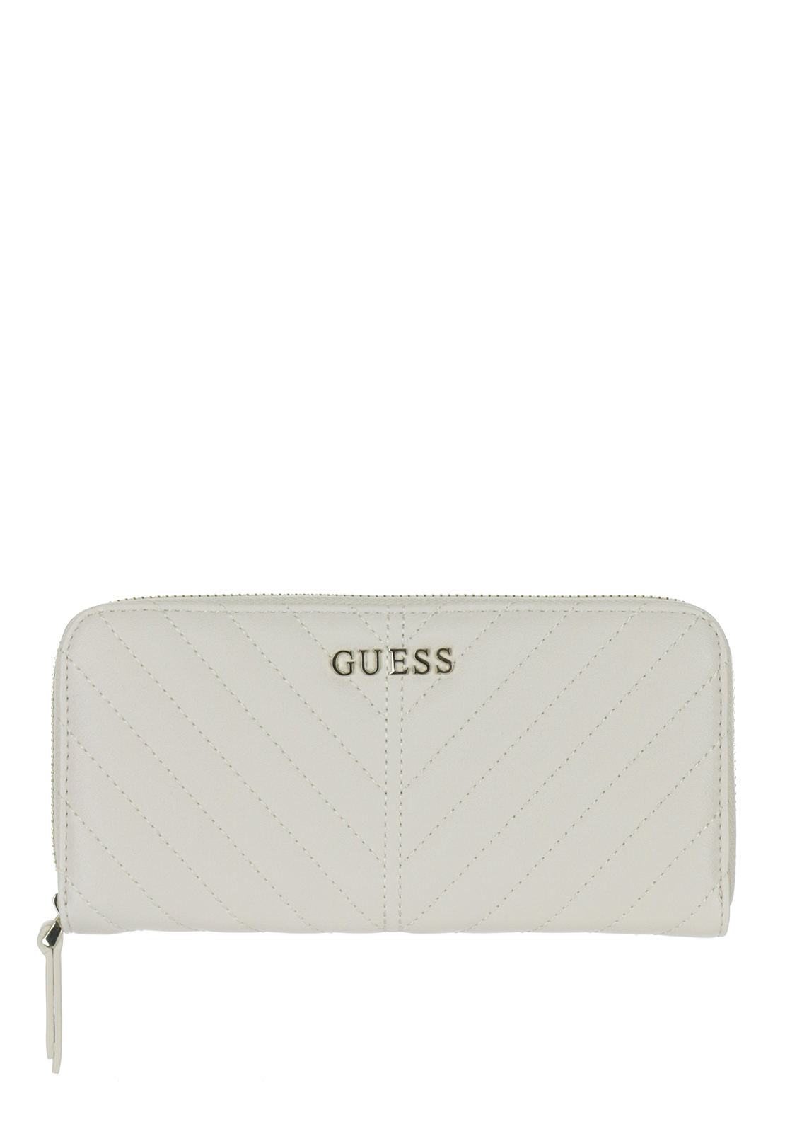 Guess Addison Quilted Large Zip around Purse, Ivory