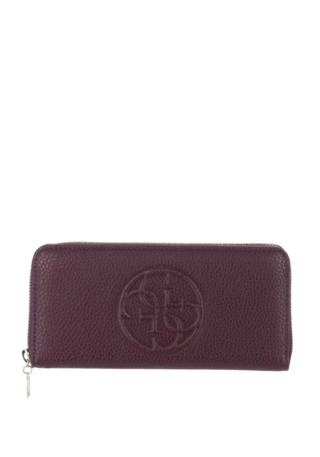Guess Korry Crush SLG Zip Around Purse, Bordeaux