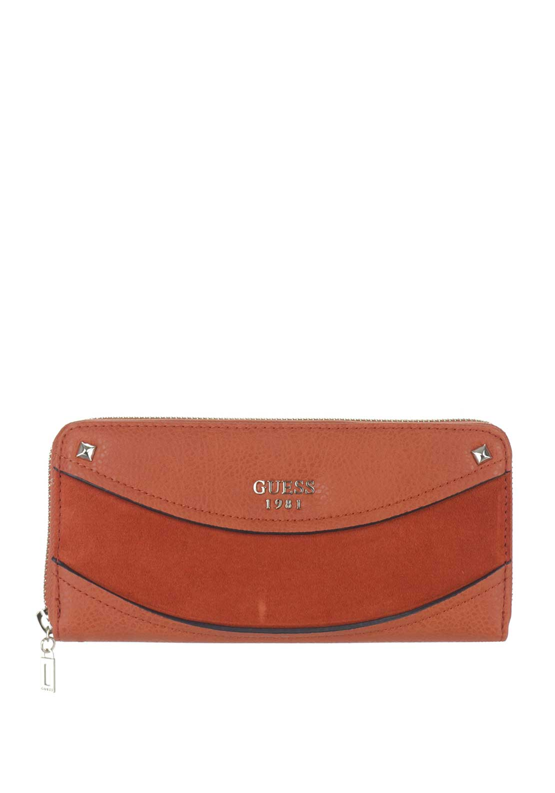 Guess Solene SLG Suede Insert Zip Around Purse, Spice