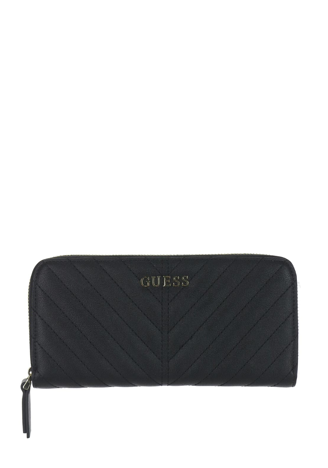 Guess Addison Quilted Large Zip Around Purse, Black