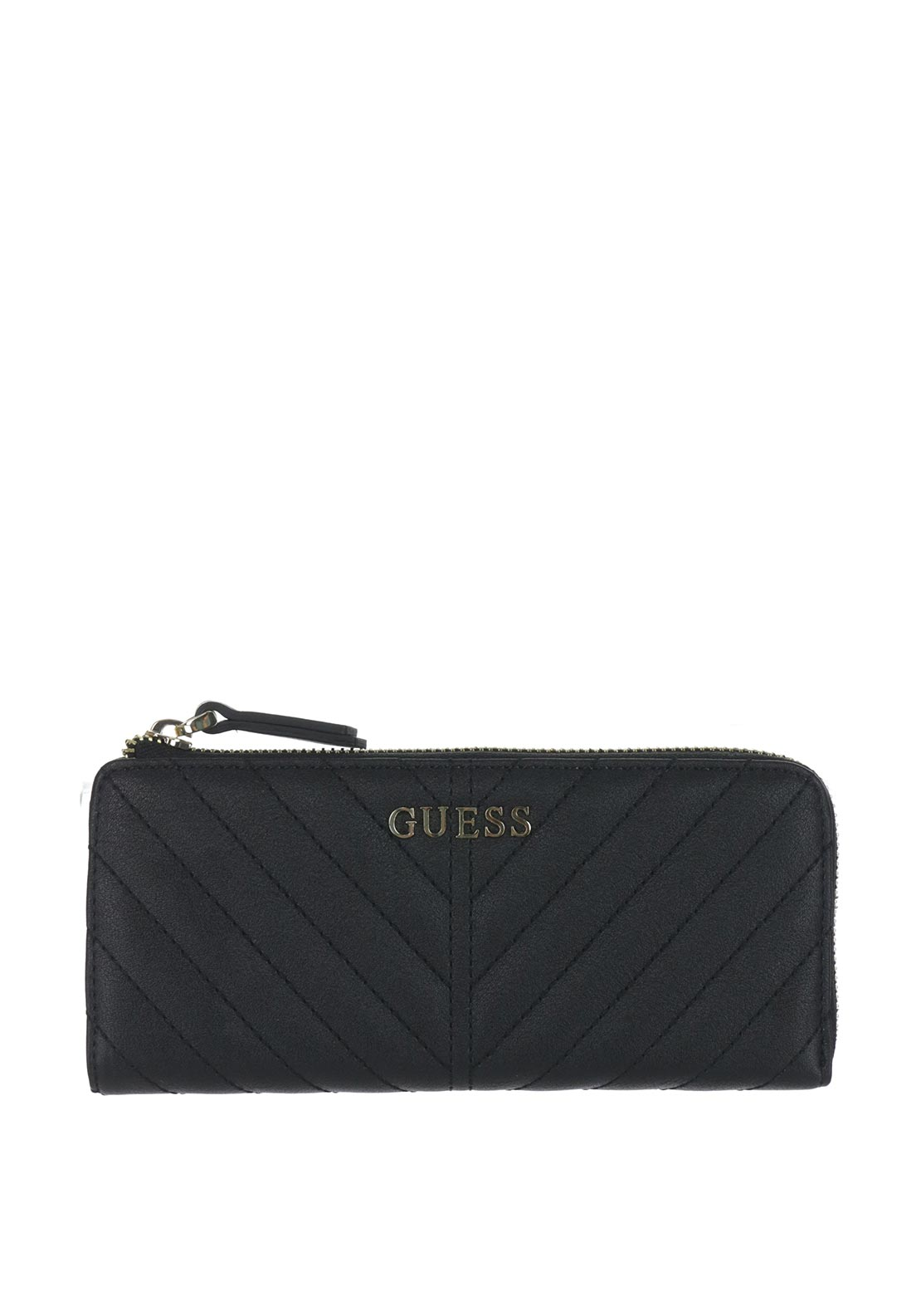 Guess Addison Quilted Medium Zip Around Purse, Black