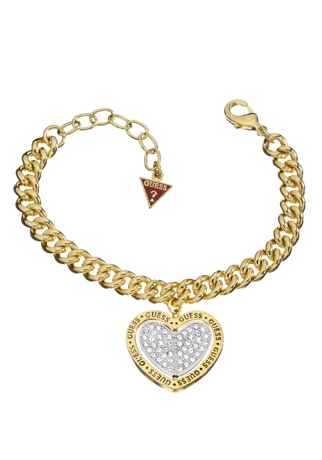 Guess Womens Spin Heart Charm Bracelet, Gold