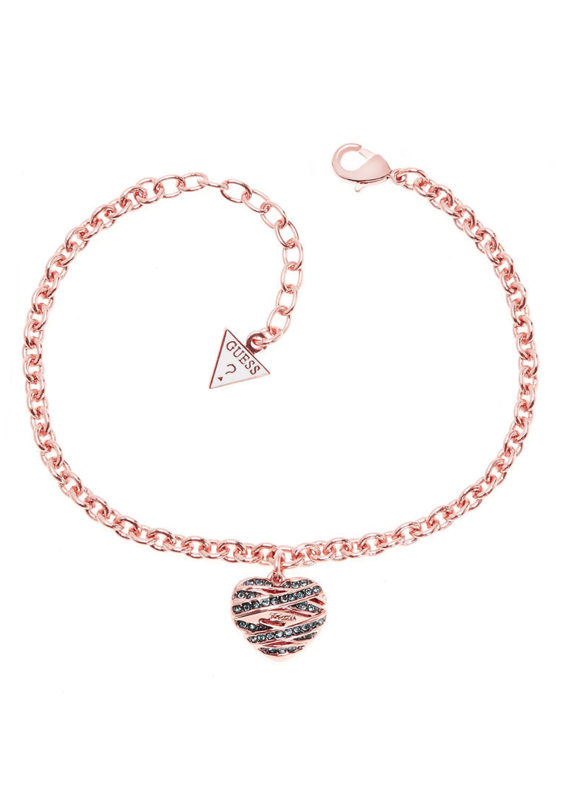 Guess Womens Heart Pendant Bracelet, Rose Gold